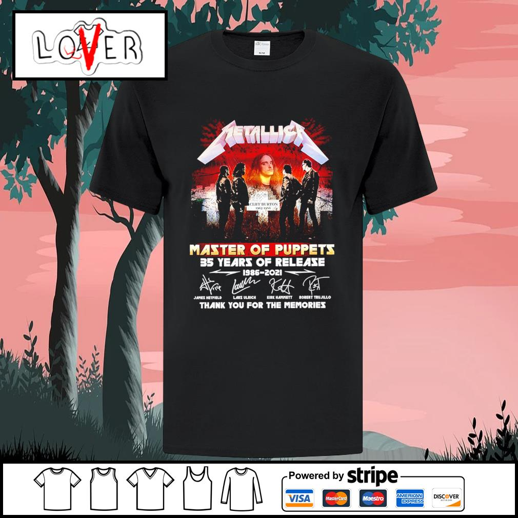 Metallica master of puppets 35 years of release 1986 2021 thank you for the memories signatures shirt