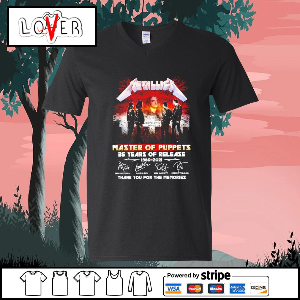 Metallica master of puppets 35 years of release 1986 2021 thank you for the memories signatures s V-neck-T-shirt