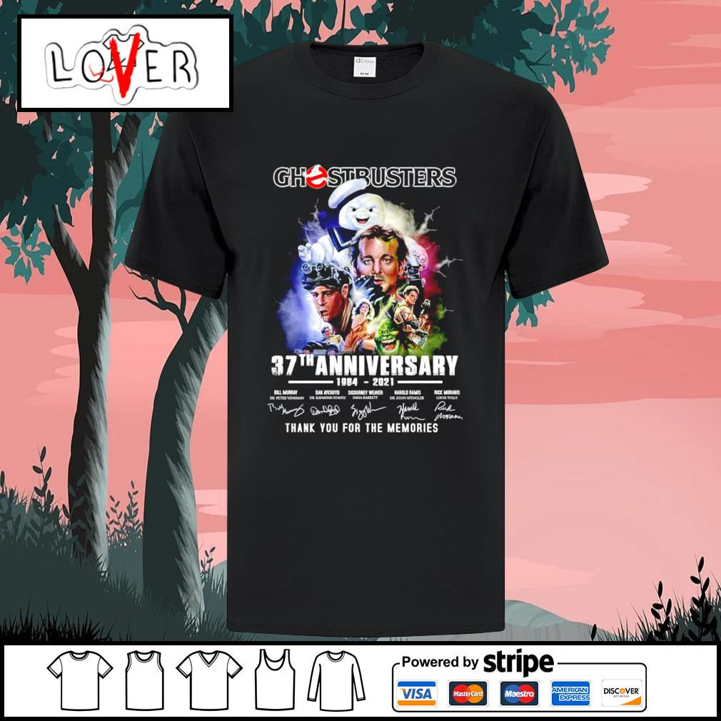 Official Ghostbusters 37th anniversary 1984 2021 thank you for the memories signatures shirt
