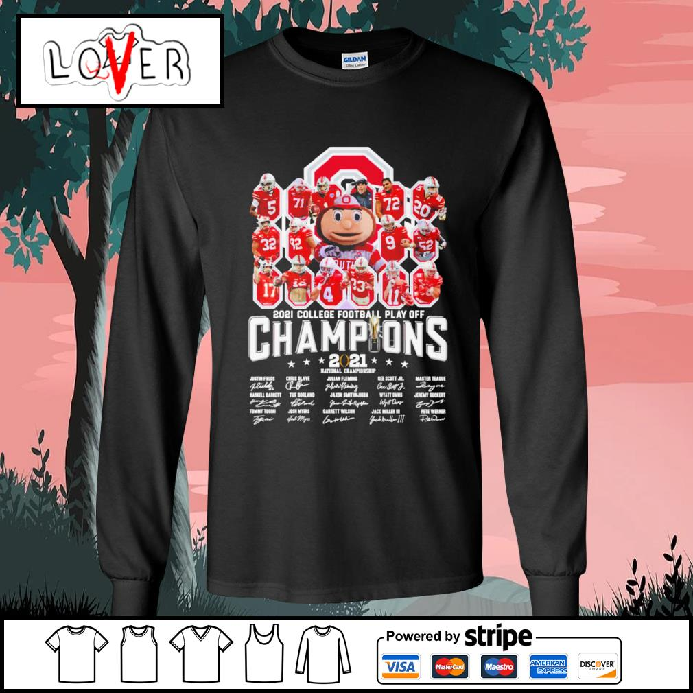 Ohio State Buckeyes 2021 college football play off champion 2021 national championship signature s Long-Sleeves-Tee