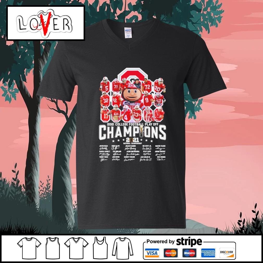 Ohio State Buckeyes 2021 college football play off champion 2021 national championship signature s V-neck-T-shirt