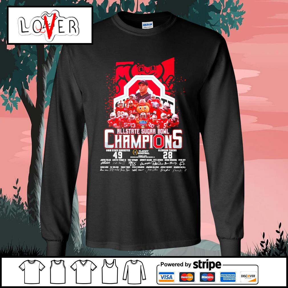 Ohio State Buckeyes Allstate Sugar Bowl champions signatures s Long-Sleeves-Tee
