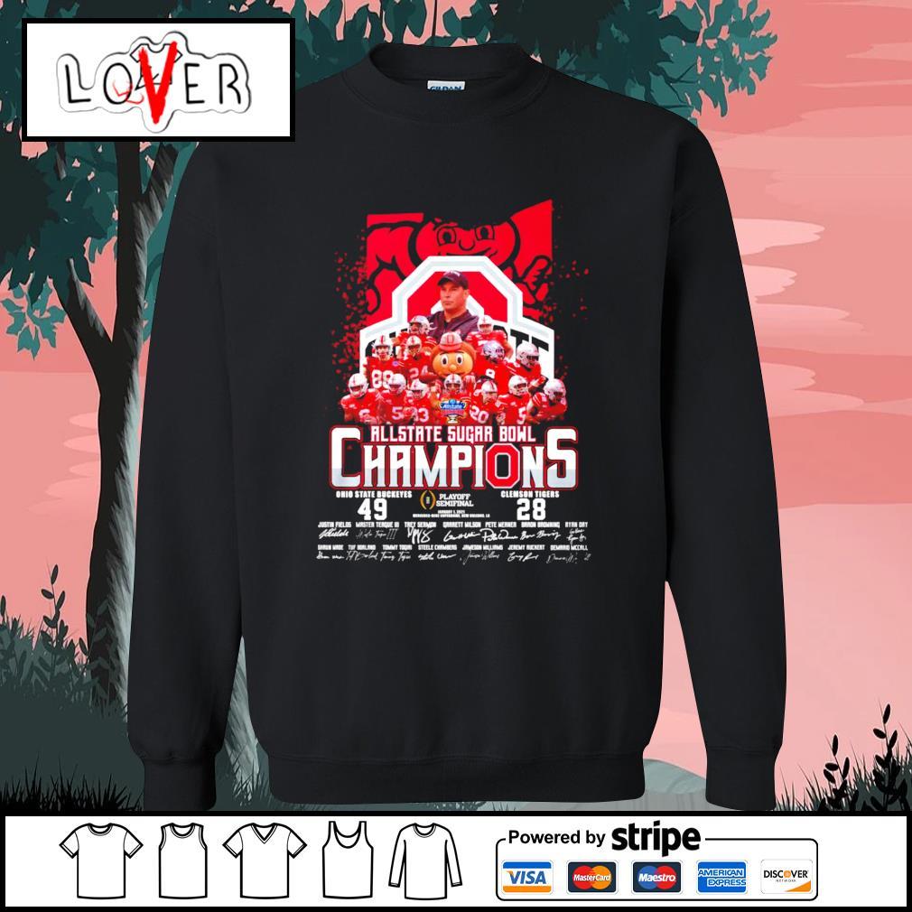 Ohio State Buckeyes Allstate Sugar Bowl champions signatures s Sweater