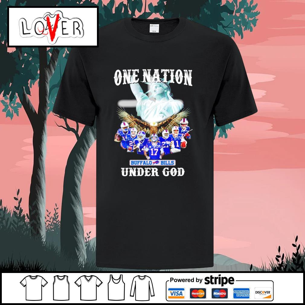 One nation under god Buffalo Bills signatures shirt