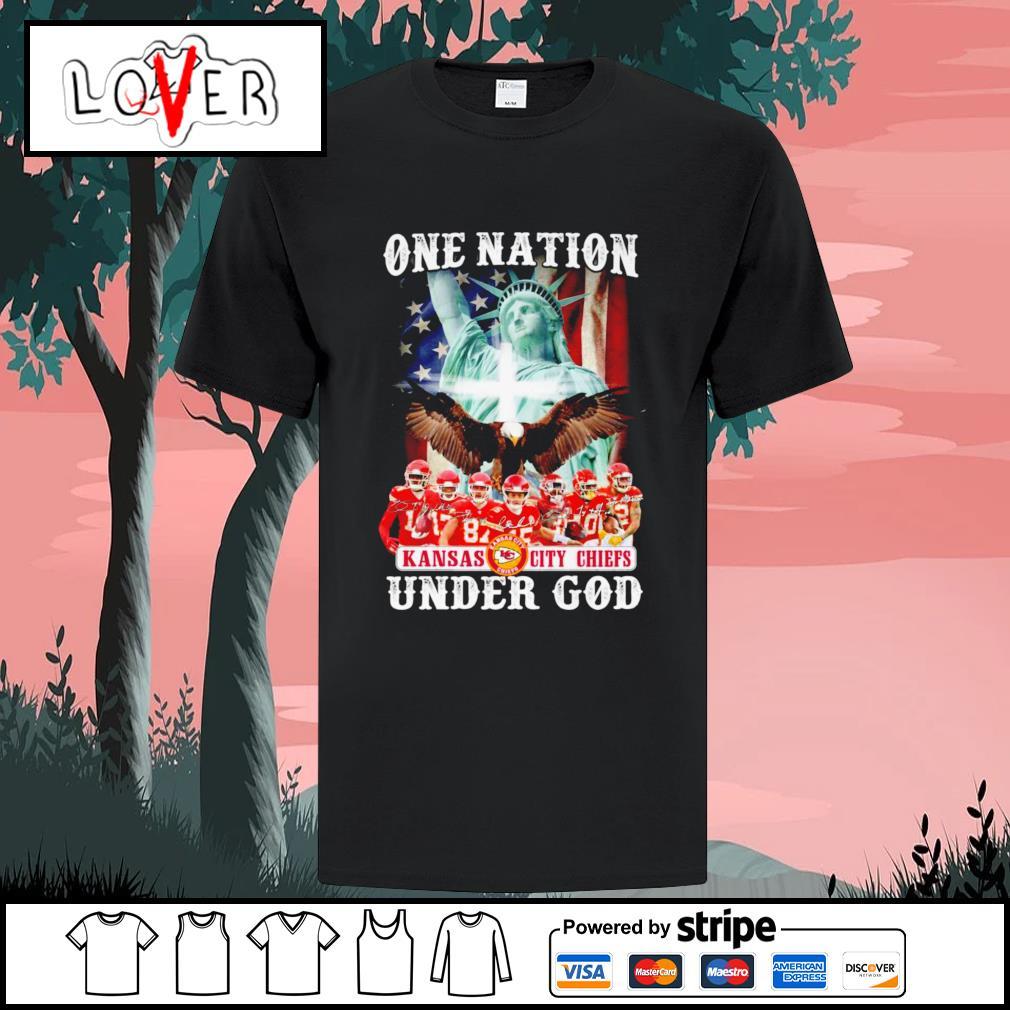 One nation under god Kansas City Chiefs signatures shirt