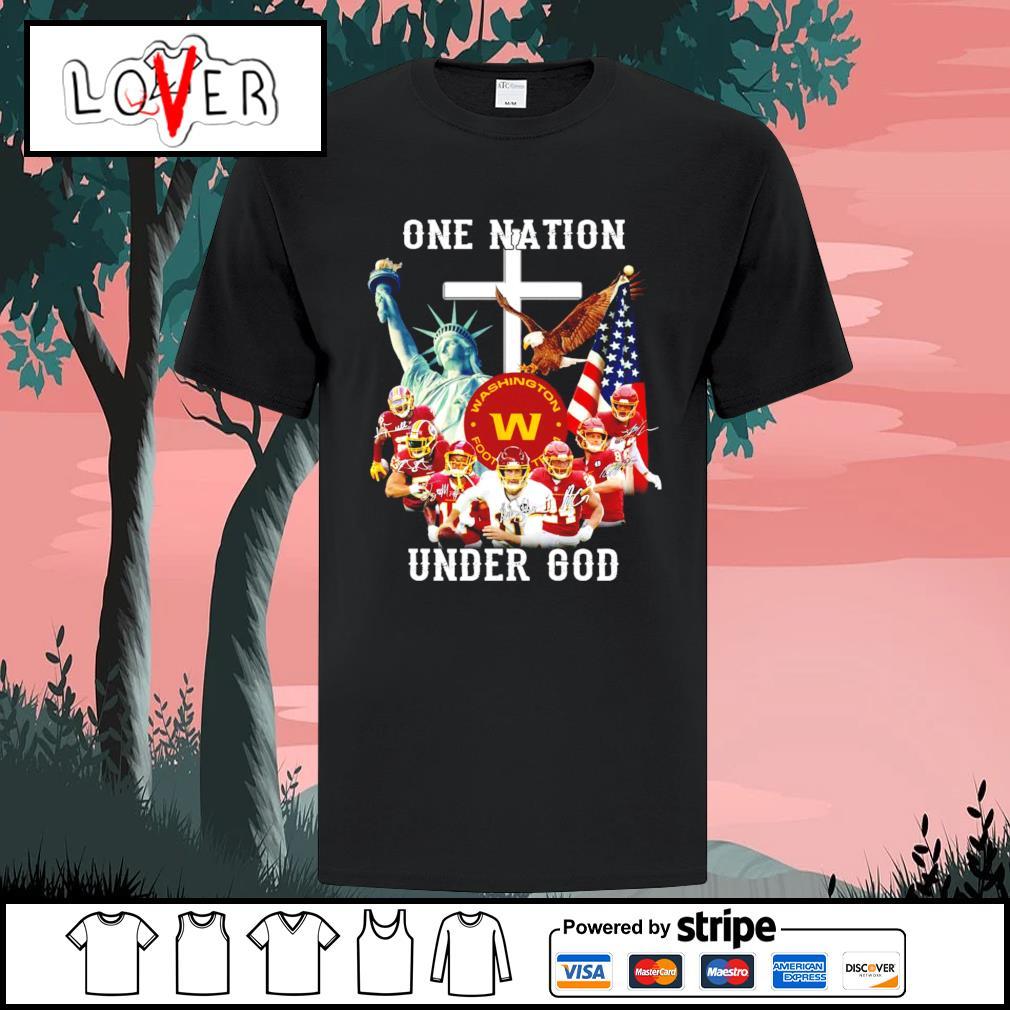 One nation under god Washington football team signatures shirt