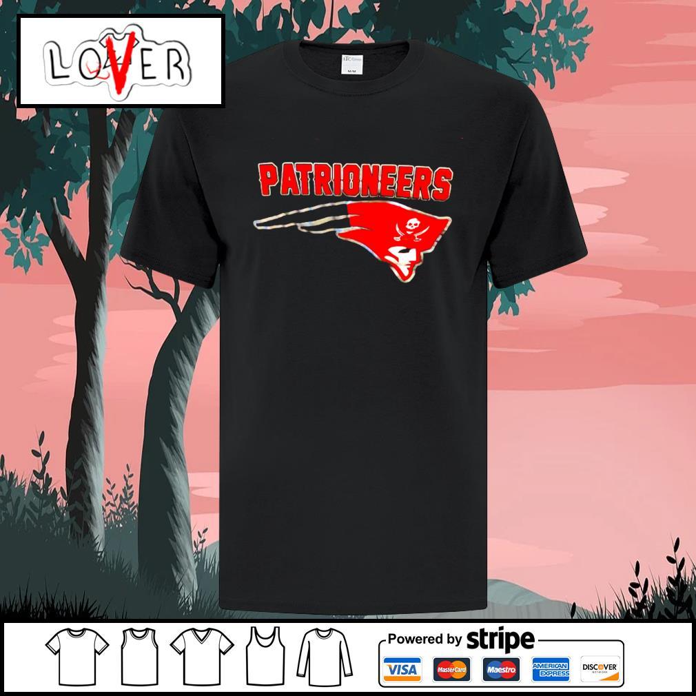 Patrioneers Tampa Bay Buccaneers New England Patriots logo shirt