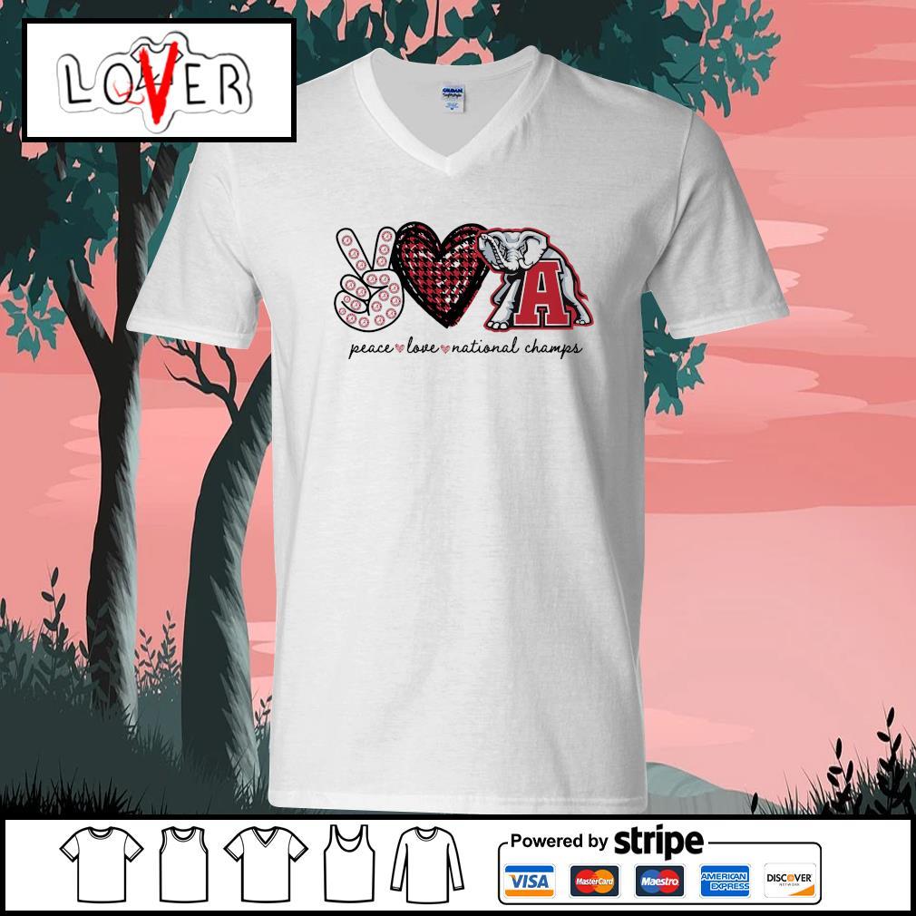 Peace love national champs Alabama Crimson Tide s V-neck-T-shirt