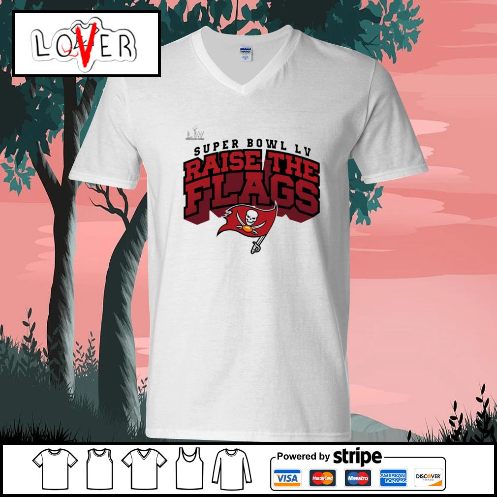 Super Bowl LV Raise The Flags Tampa Bay Buccaneers s V-neck-T-shirt