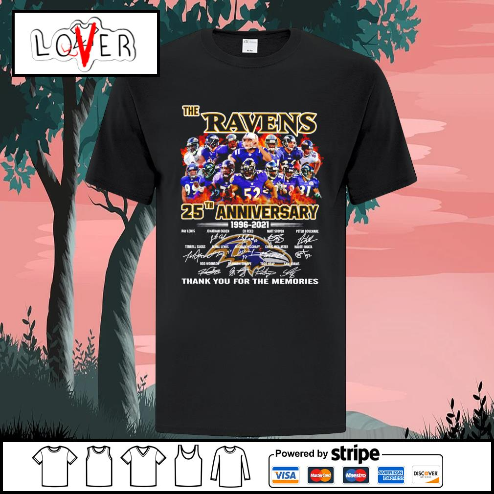The Baltimore Ravens 25th anniversary 1966 2021 signatures shirt
