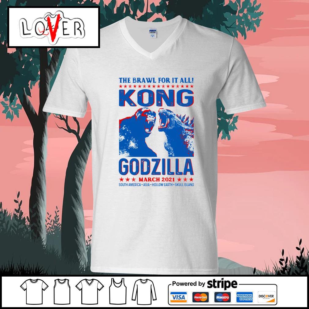 The brawl for it all Kong vs Godzilla march 2021 s V-neck-T-shirt