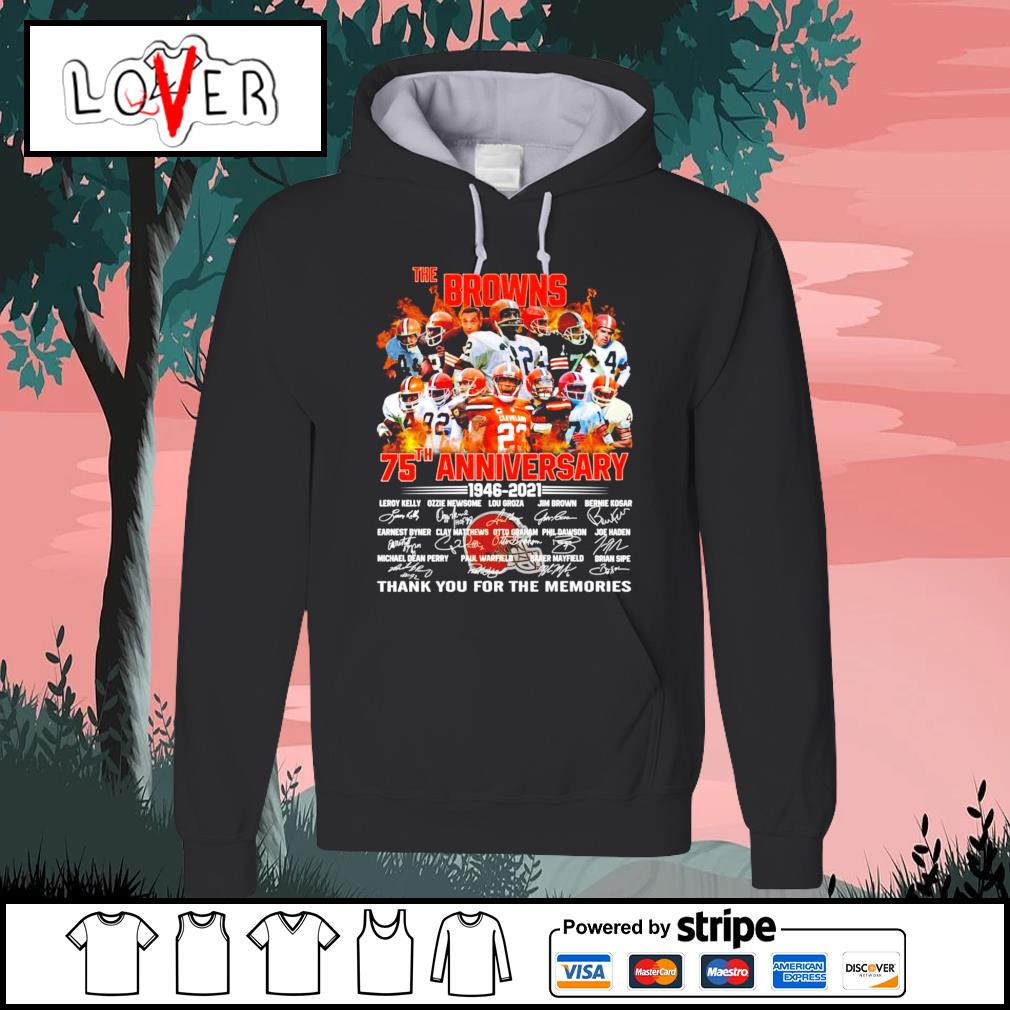 The Cleveland Browns 75th anniversary 1946 2021 signatures s Hoodie