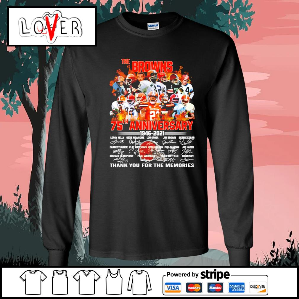The Cleveland Browns 75th anniversary 1946 2021 signatures s Long-Sleeves-Tee