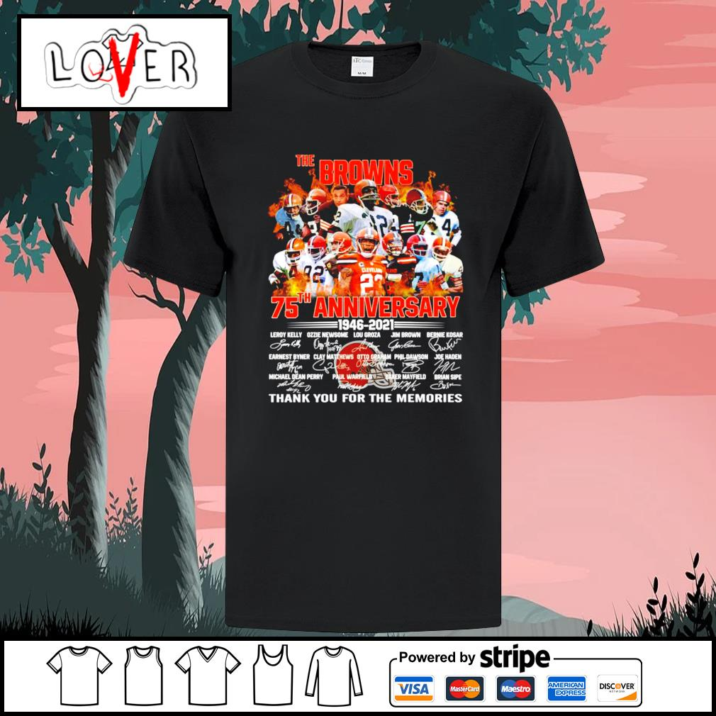 The Cleveland Browns 75th anniversary 1946 2021 signatures shirt