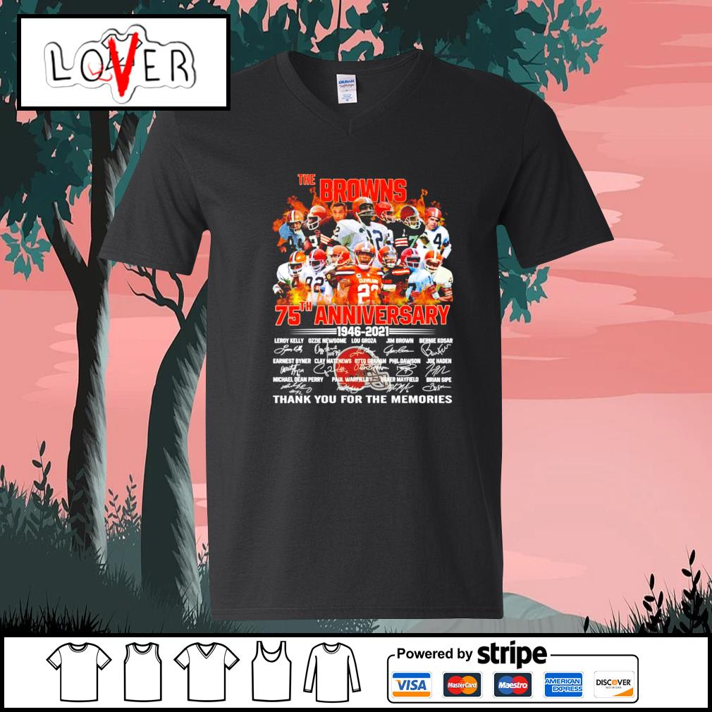 The Cleveland Browns 75th anniversary 1946 2021 signatures s V-neck-T-shirt