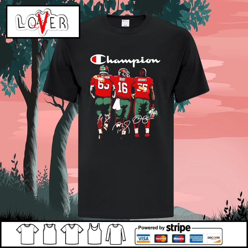 Tom Brady Lee Roy Selmon and Derrick Brooks Tampa Bay Buccaneers Champion signatures shirt