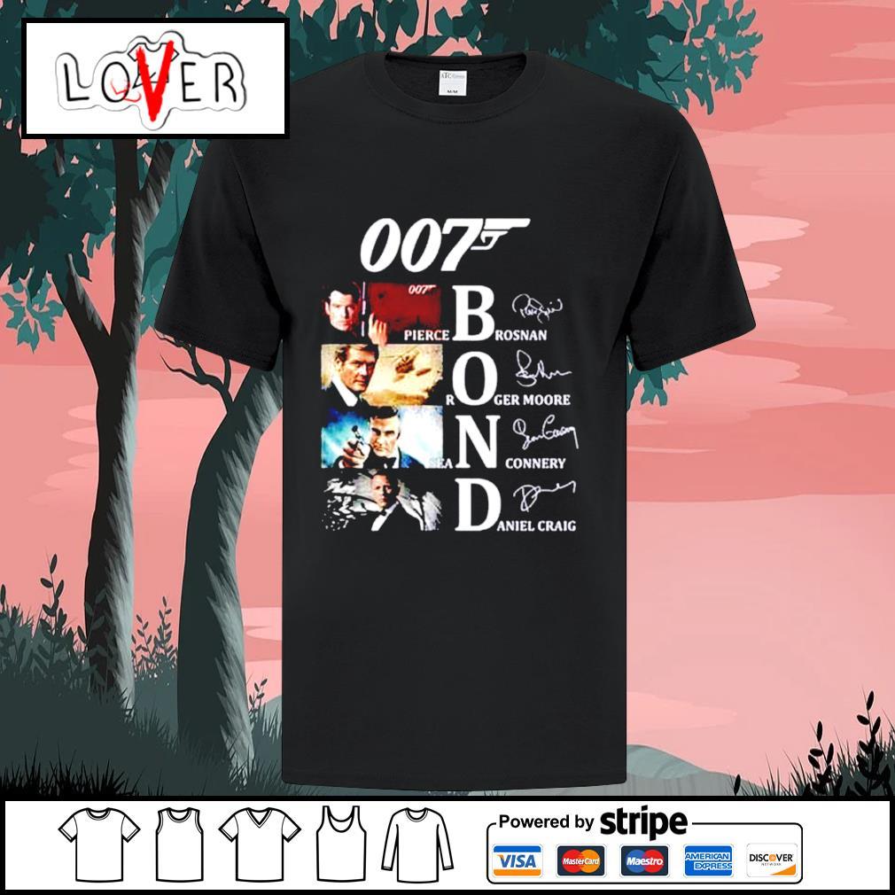 007 Bond Pierce Brosnan Roger Moore Sean Connery Daniel Craig signatures shirt