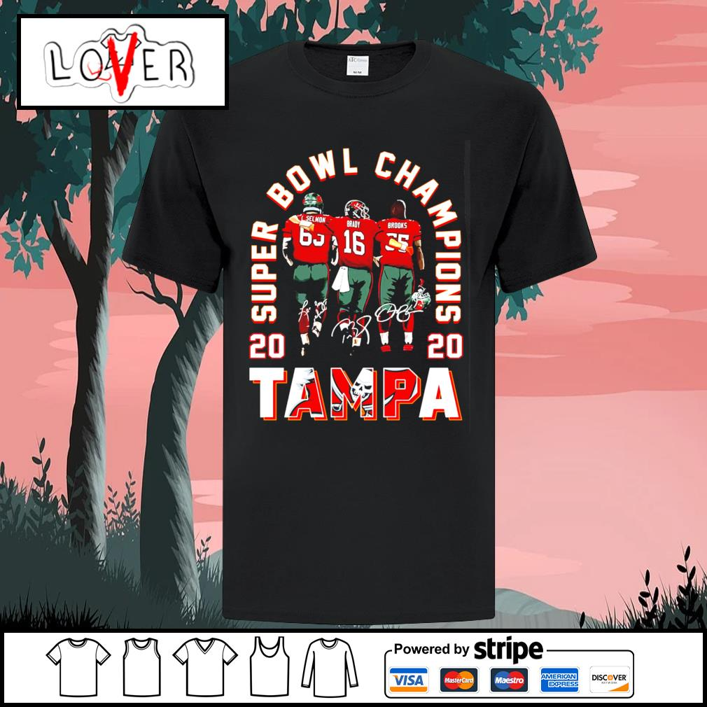 2020 Tampa Bay Buccaneers super bowl champions Selmon Brady and Brooks signatures shirt