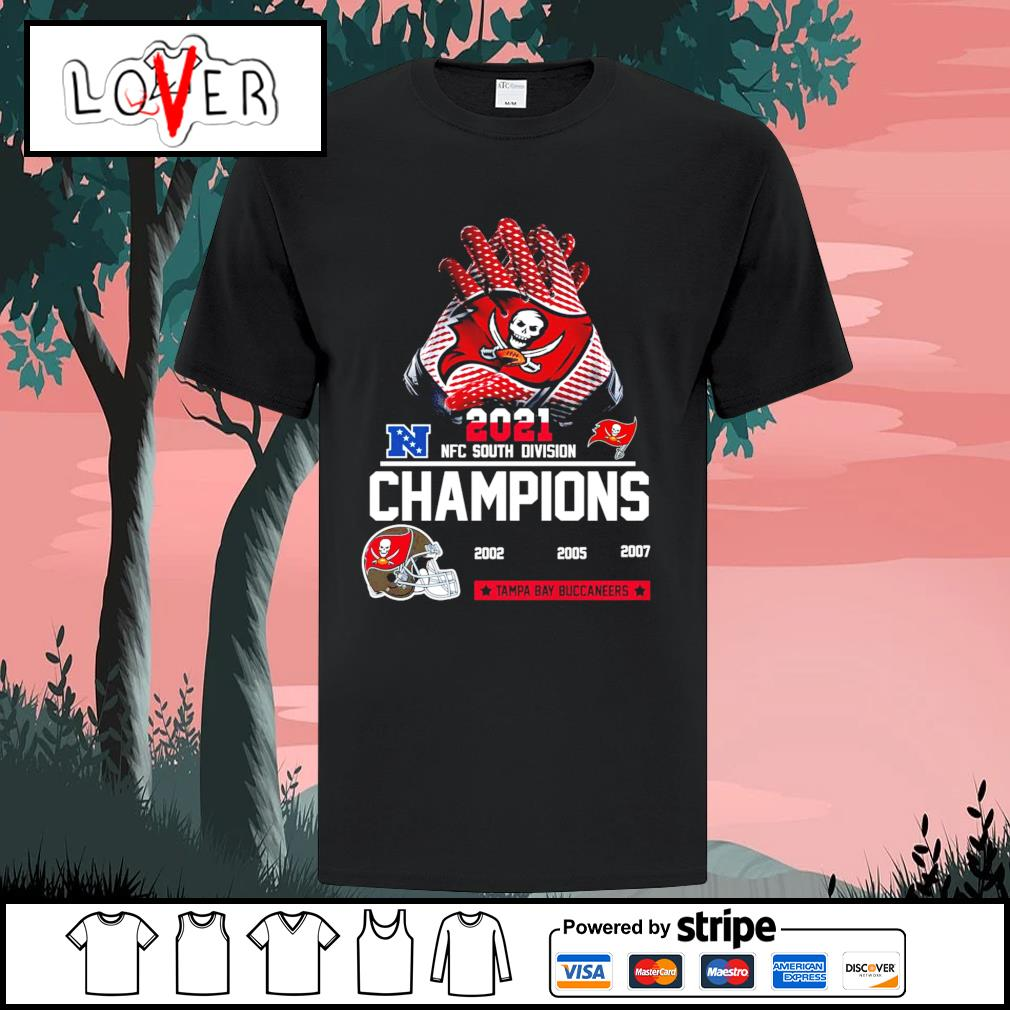 2021 NFC south division champions 2002 2005 2007 Tampa Bay Buccaneers shirt