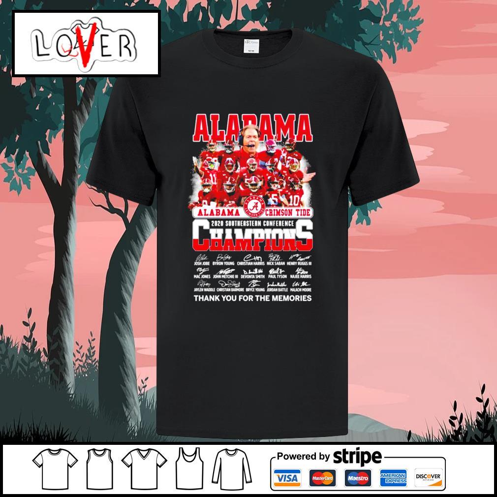 Alabama Crimson Tide 2020 southeastern conference champions signatures shirt