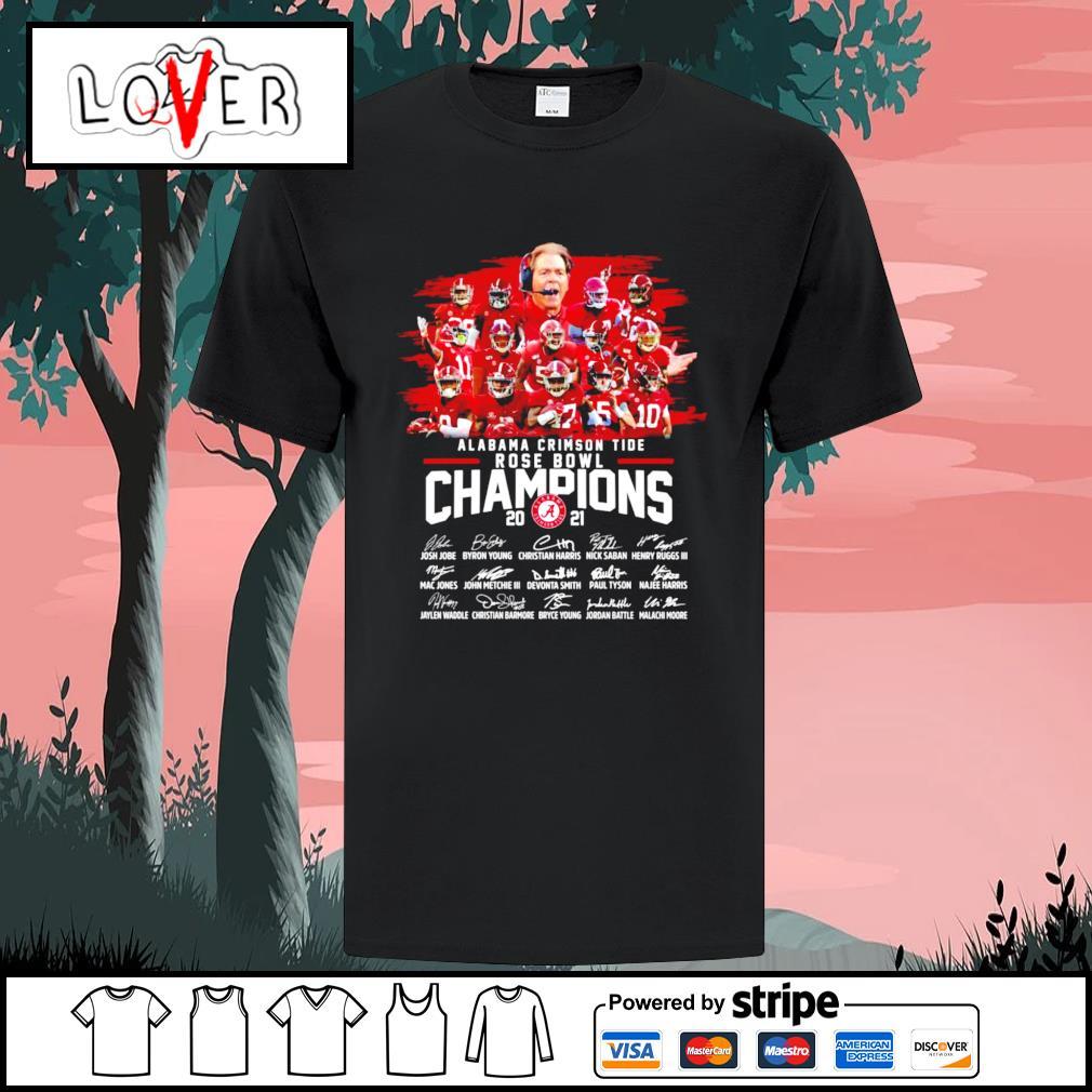 Alabama Crimson Tide rose bowl champions 2021 signatures shirt