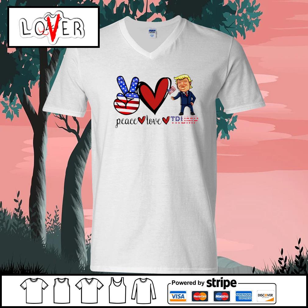 Eace love donald trump american flag s V-neck-T-shirt