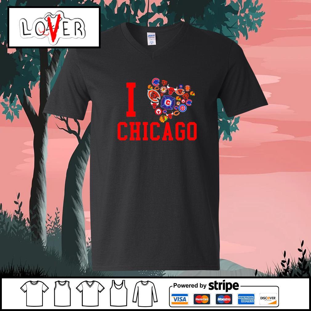 I love Chicago sport teams s V-neck-T-shirt