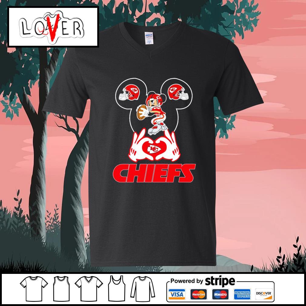 I love Mickey Mouse Kansas City Chiefs s V-neck-T-shirt