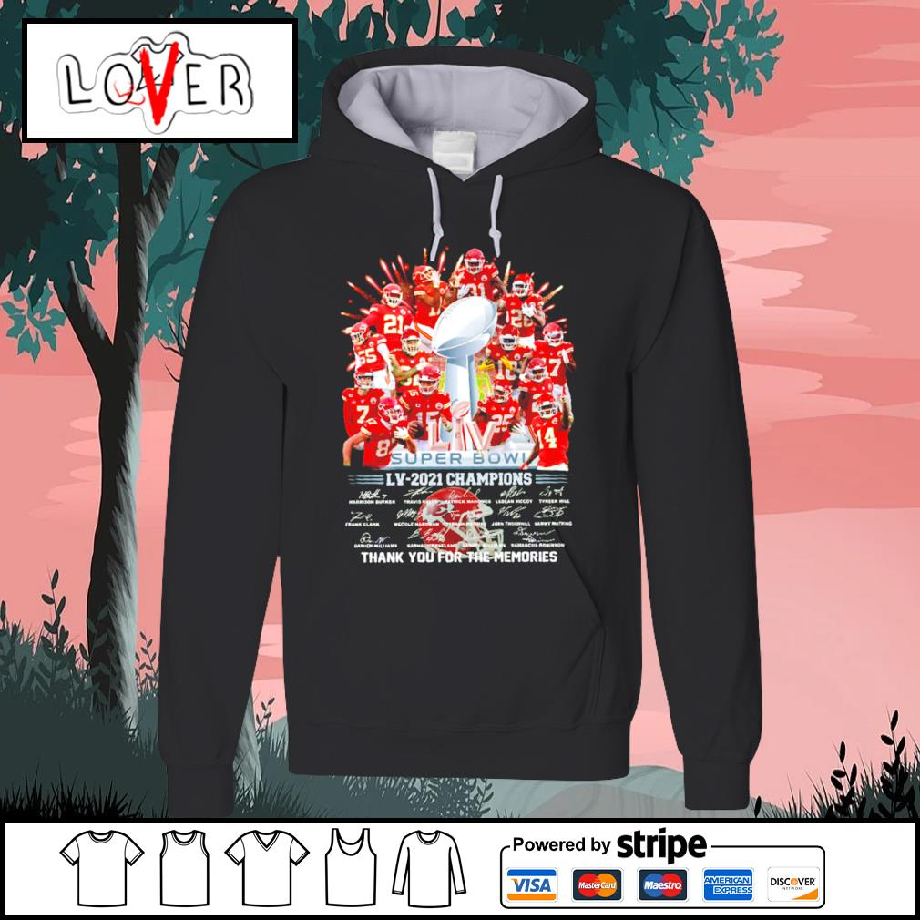 Kansas City Chiefs super bowl LV 2021 champions thank you for the memories signatures s Hoodie