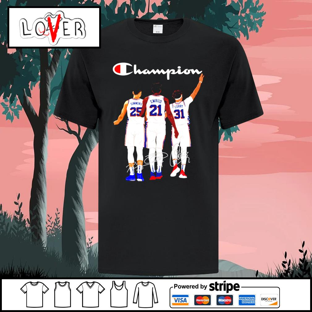 Philadelphia 76ers Simmons Joel Embiid Seth Curry champion signatures shirt