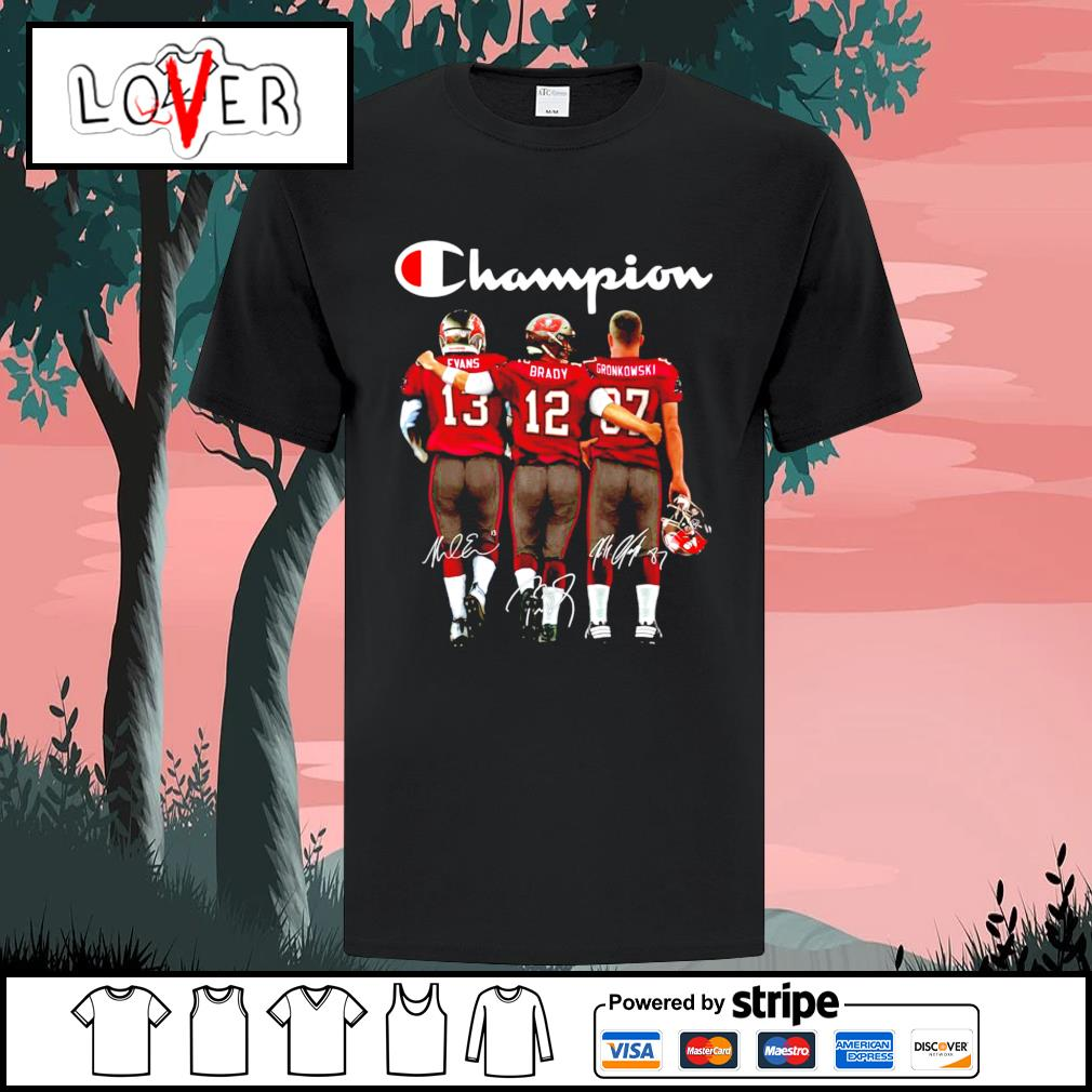 Tampa Bay Buccaneers Evans Brady and Gronkowski champion signatures shirt