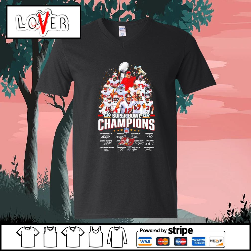 Tampa Bay team super bowl champions NFL signatures s V-neck-T-shirt