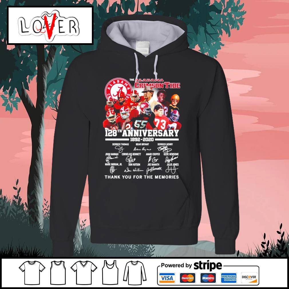 The Alabama Crimson Tide 128th anniversary 1892 2020 thank you for the memories signatures s Hoodie