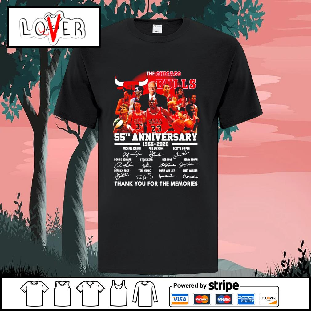 The Chicago Bulls 55th anniversary 1966 2020 thank you for the memories signatures shirt