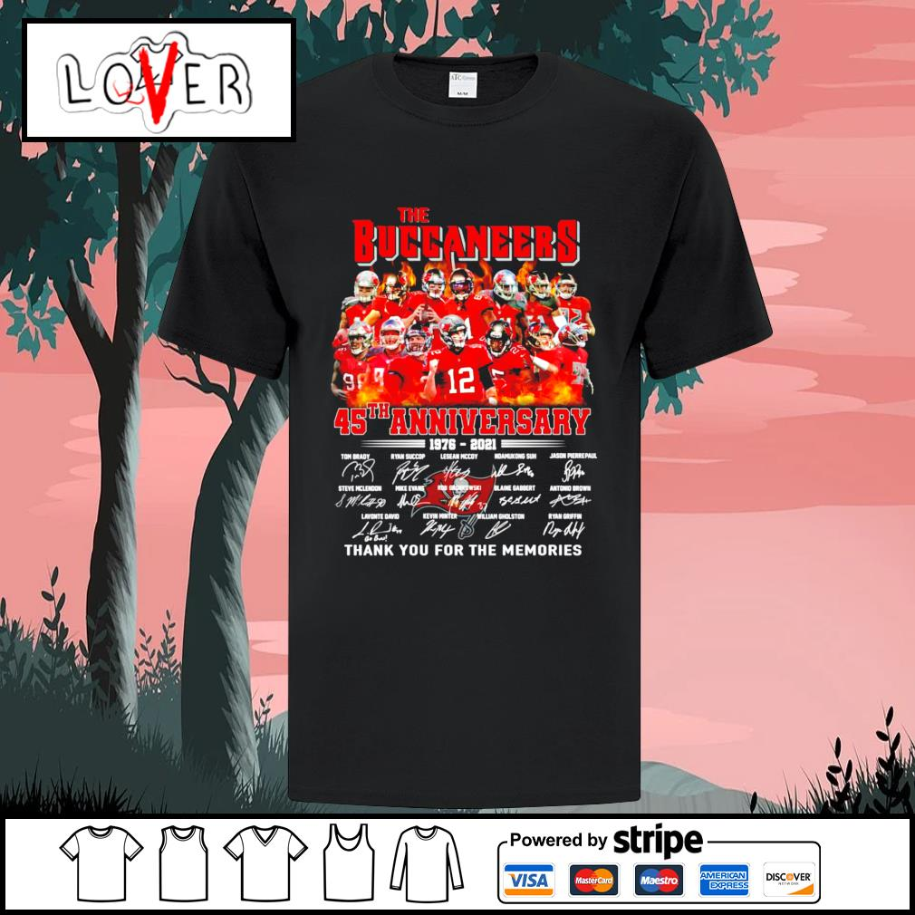 The Tampa Bay Buccaneers 45th anniversary 1976 2021 thank you for the memories shirt