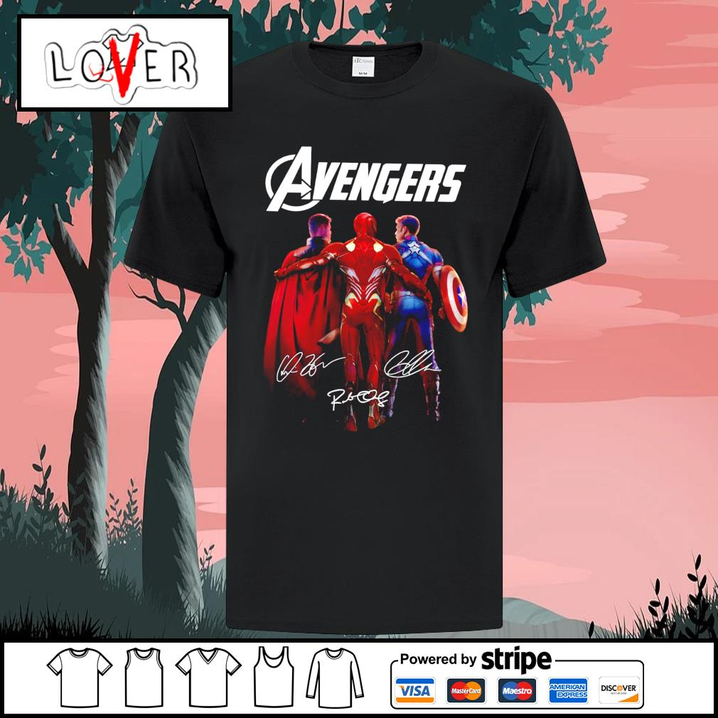 Thor Iron Man and Captain America Avengers legends signatures shirt